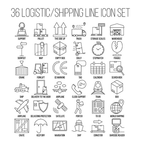 search box: Logistic icons. Warehouse and shipping equipment. Storage scales, dolly, tag, forklift, crane and other things. Line art vector illustration.