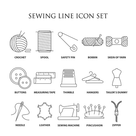 bobbin: Sewing icons. Embroidery equipment. Bobbin, safety pin, needle, zipper, pincushion and other things for stitching. Line art vector illustration.