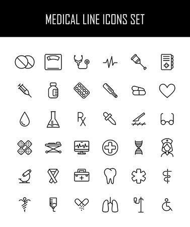 aesculapius: Conjunto de iconos de médicos en el estilo de línea delgada moderna. Alta calidad símbolos de medicina contorno negro para el diseño de sitios web y aplicaciones móviles. Simples pictogramas cuidado de la salud lineales sobre un fondo blanco.
