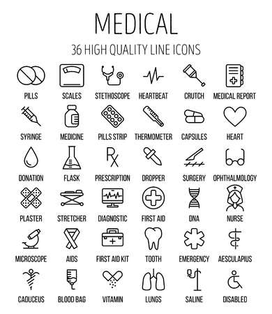 saline: Set of medical icons in modern thin line style. High quality black outline medicine symbols for web site design and mobile apps. Simple linear health care pictograms on a white background.