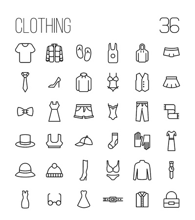 Set of clothing icons in modern thin line style. High quality black outline shirt and dress symbols for web site design and mobile apps. Simple linear accessories pictograms on a white background. Ilustracja