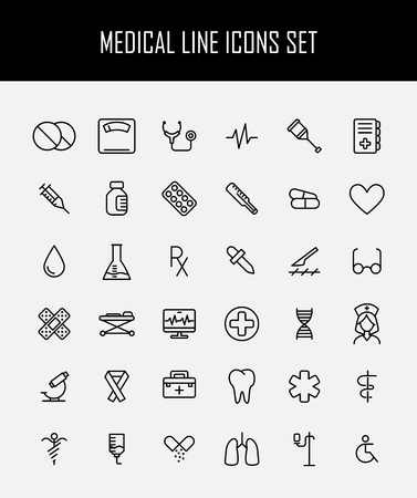 surgery stretcher: Set of medical icons in modern thin line style. High quality black outline medicine symbols for web site design and mobile apps. Simple linear health care pictograms on a white background.