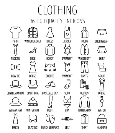 Set of clothing icons in modern thin line style. High quality black outline shirt and dress symbols for web site design and mobile apps. Simple linear accessories pictograms on a white background. Illusztráció