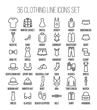 scarf beach: Set of clothing icons in modern thin line style. High quality black outline shirt and dress symbols for web site design and mobile apps. Simple linear accessories pictograms on a white background. Illustration