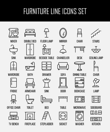 Set of furniture icons in modern thin line style. High quality black outline home symbols for web site design and mobile apps. Simple linear interior pictograms on a white background. Çizim