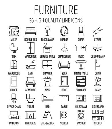 Conjunto de iconos de los muebles en estilo de línea delgada moderna. Alta calidad símbolos de origen contorno negro para el diseño de sitios web y aplicaciones móviles. Simples pictogramas interiores lineales sobre un fondo blanco. Ilustración de vector