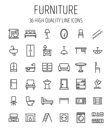 Set of furniture icons in modern thin line style. High quality black outline home symbols for web site design and mobile apps. Simple linear interior pictograms on a white background. Vettoriali