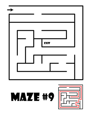 conundrum: Labyrinth or maze conundrum for kids with answer. Children funny puzzle game. Entry and exit. Vector illustration isolated on a light background.