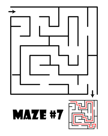 lost child: Labyrinth or maze conundrum for kids with answer. Children funny puzzle game. Entry and exit. Vector illustration isolated on a light background.