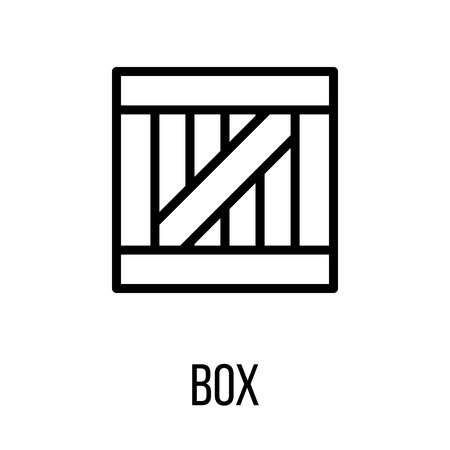 consumerism: Box icon in modern line style. High quality black outline pictogram for web site design and mobile apps. Vector illustration on a white background.
