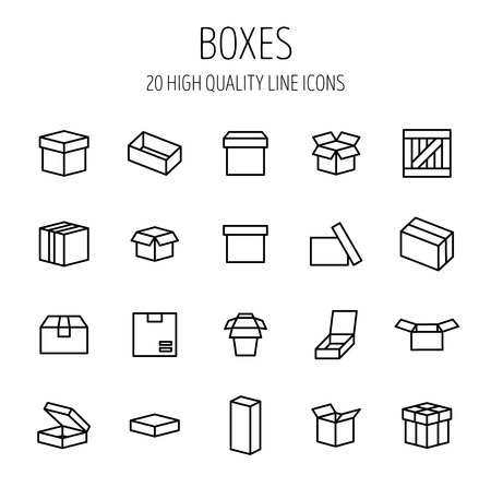 consumerism: Set of box icons in modern thin line style. High quality black outline package symbols for web site design and mobile apps. Simple linear wooden crate pictograms on a white background. Illustration