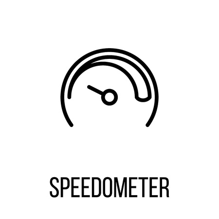 Speedometer icon in modern line style. High quality black outline pictogram for web site design and mobile apps. Vector illustration on a white background. Illustration