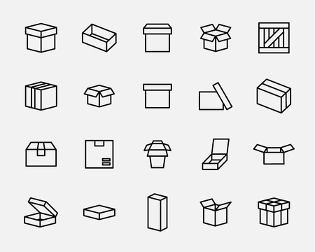 wooden crate: Set of box icons in modern thin line style. High quality black outline package symbols for web site design and mobile apps. Simple linear wooden crate pictograms on a white background. Illustration