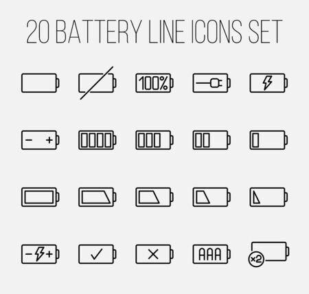 full time: Set of battery icons in modern thin line style. High quality black outline charge symbols for web site design and mobile apps. Simple linear battery pictograms on a white background. Illustration