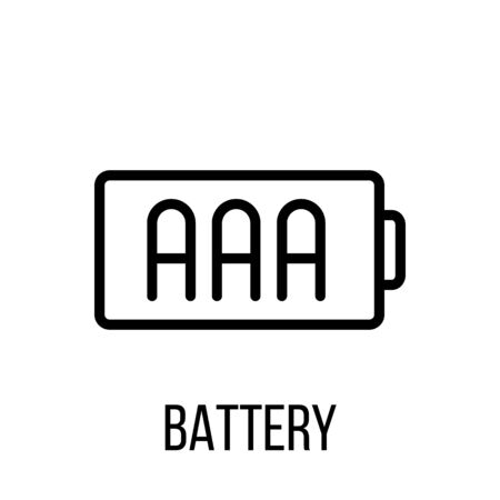 full time: Battery icon in modern line style. High quality black outline pictogram for web site design and mobile apps. Vector illustration on a white background.