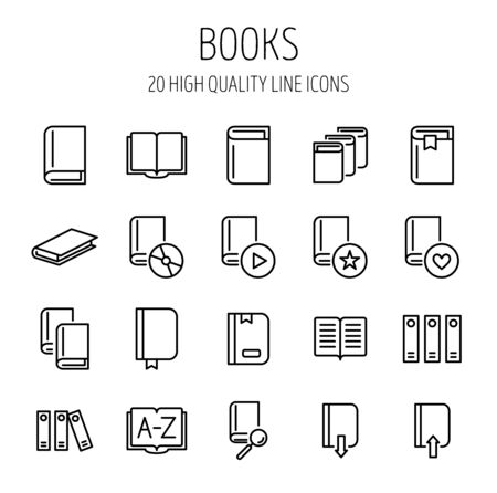 Set Of Book Icons In Modern Thin Line Style High Quality Black