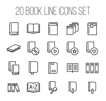 turning page: Set of book icons in modern thin line style. High quality black outline learning symbols for web site design and mobile apps. Simple linear book pictograms on a white background