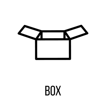 consumerism: Box icon or in modern line style. High quality black outline pictogram for web site design and mobile apps. Vector illustration on a white background.