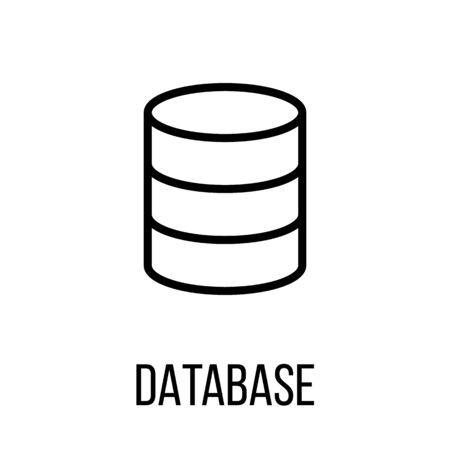 global settings: Database icon in modern line style. High quality black outline pictogram for web site design and mobile apps. Vector illustration on a white background.