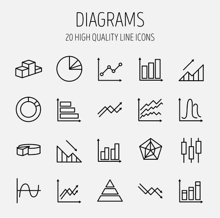유행: 도표와 그래프 벡터 라인 아이콘의 간단한 설정합니다. 트렌드, 손실, 파이 차트, 원형 도표, 촛대 차트 등과 같은 아이콘이 포함되어 있습니다. 편집  일러스트