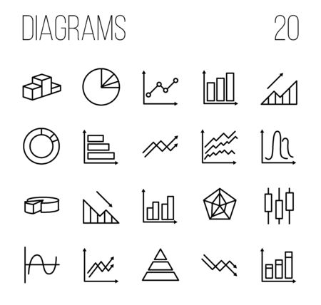 plot: Simple Set of Diagram and Graph Vector Line Icons. Contains such Icons as Trend, Loss, Pie Chart, Round Diagram, Candlestick Chart and more. Editable Stroke. Vector illustration on a white background Illustration