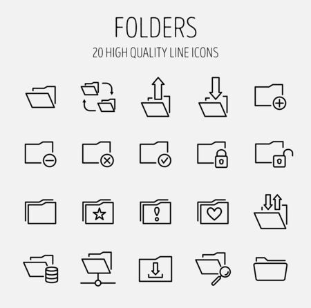 repository: Set of folder icons in modern thin line style. High quality black outline repository symbols for web site design and mobile apps. Simple linear folder pictograms on a white background. Illustration