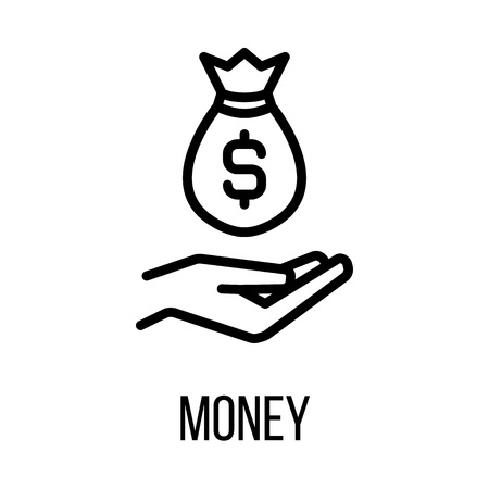 Money icon or logo in modern line style. High quality black outline pictogram for web site design and mobile apps. Vector illustration on a white background. Illustration