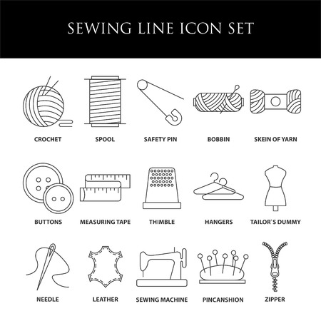 stitching: Sewing icons. Embroidery equipment. Bobbin, safety pin, needle, zipper, pincanshion and other things for stitching. Line art vector illustration.