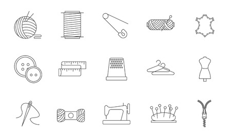 stitching: Sewing icons. Embroidery equipment. Bobbin, safety pin, needle, zipper, pincushion and other things for stitching. Line art vector illustration.