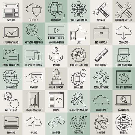 keyword: SEO icons. Internet and development signs. Web site, keyword, anchor, SMM, technical support, video marketing and other things. Line art vector illustration.