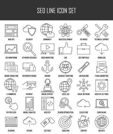 data line: SEO icons. Internet and development signs. Web site, keyword, anchor, SMM, technical support, video marketing and other things. Line art vector illustration.