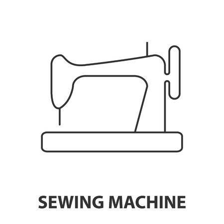 Sewing machine icon or logo line art style. Vector Illustration.