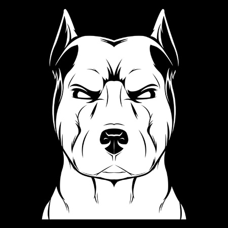 Angry dog (stafford). White illustration on a black background. Picture for logo, emblems, stickers, symbolism and others. Illustration