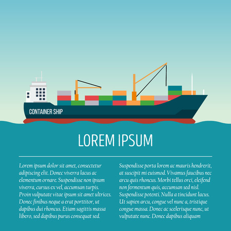 Vector seaway ocean delivery and shipping boat with text area. Ship in modern flat style for illustrations, poster, t-shirts, web sites and others. Vector illustration isolated on a blue background.