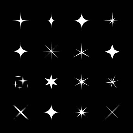 glint: Set of stars, sparkle, glint, gleam, etc. Vector illustration on a black background. Light stars with rays, explosion, fireworks.