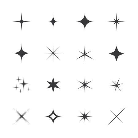 glint: Set of stars, sparkle, glint, gleam, etc. Vector illustration on a white background. Light stars with rays, explosion, fireworks. Illustration