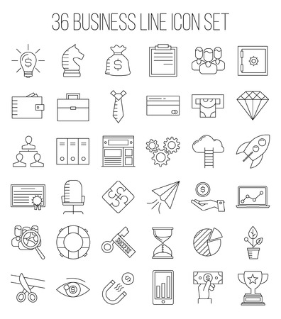 career up: Business icons. Start up and management signs. Safe, wallet, archive, career ladder, key to success, money magnet and other things. Line art vector illustration.
