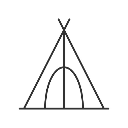 Tent icon or logo line art style. Vector Illustration.