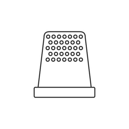 thimble: Thimble icon or logo line art style. Vector Illustration.