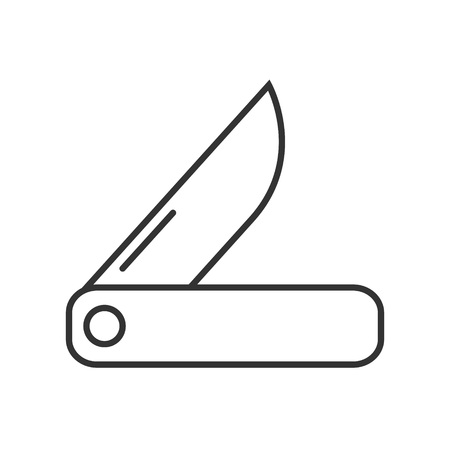pocket knife: Swiss knife icon or logo line art style. Vector Illustration.