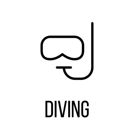 lifejacket: Diving icon or logo in modern line style. High quality black outline pictogram for web site design and mobile apps. Vector illustration on a white background. Illustration