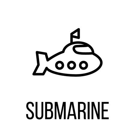 Submarine icon or logo in modern line style. High quality black outline pictogram for web site design and mobile apps. Vector illustration on a white background. Illustration