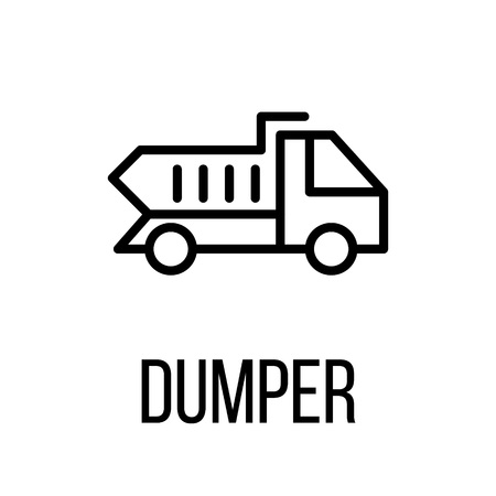 dumptruck: Dumper icon or logo in modern line style. High quality black outline pictogram for web site design and mobile apps. Vector illustration on a white background. Illustration