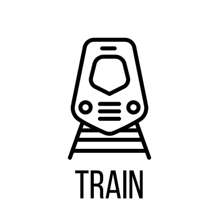 highspeed: Train icon or logo in modern line style. High quality black outline pictogram for web site design and mobile apps. Vector illustration on a white background.