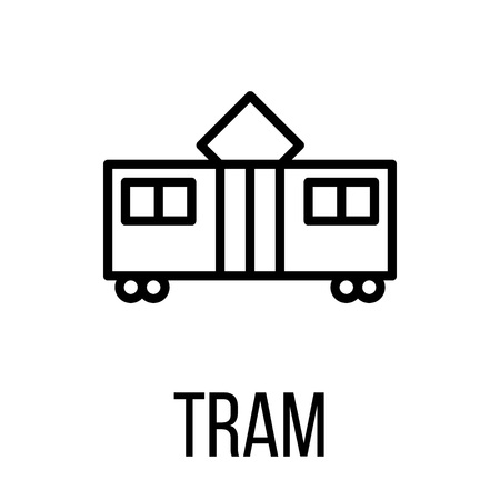 tramcar: Tram icon or logo in modern line style. High quality black outline pictogram for web site design and mobile apps. Vector illustration on a white background. Illustration