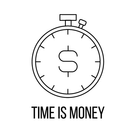 Time is money icon or logo line art style. Vector Illustration.