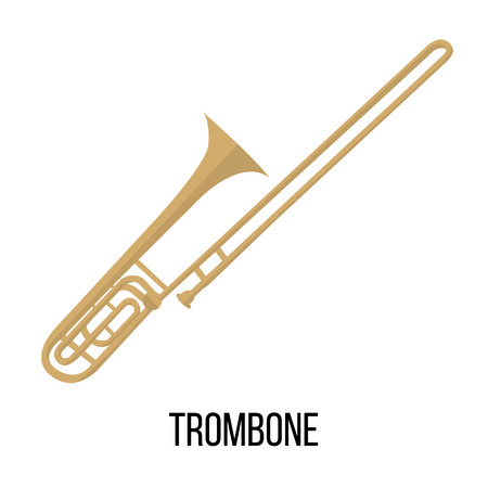 Isolated image of trombone on white background. Vector illustration in flat style design.