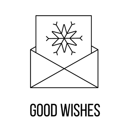 horse sleigh: Good wishes icon or logo line art style. Vector Illustration. Illustration