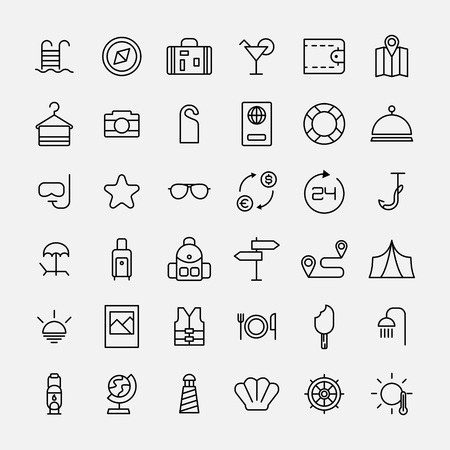 camping site: Set of travel icons in modern thin line style. High quality black camping animal symbols for web site design and mobile apps. Simple linear wild summer pictograms on a white background.