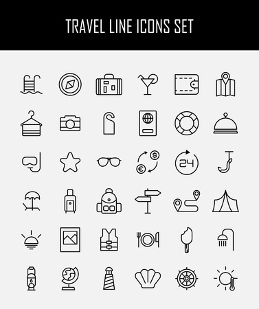 billfold: Set of travel icons in modern thin line style. High quality black camping animal symbols for web site design and mobile apps. Simple linear wild summer pictograms on a white background.